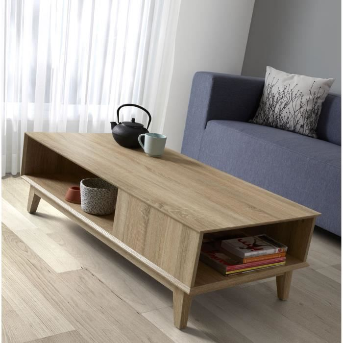 Sonoma table basse 120 cm coloris ch ne clair achat for Table de salon en chene