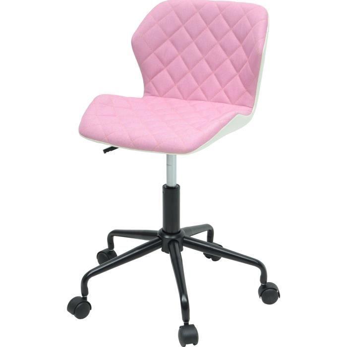 CHAISE DE BUREAU SQUATE Chaise de bureau - Tissu et simili - Rose p