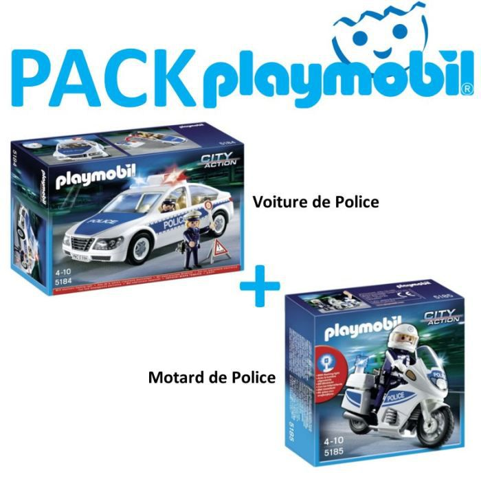 playmobil pack voiture police 5184 motard 5185 achat vente univers miniature cdiscount. Black Bedroom Furniture Sets. Home Design Ideas