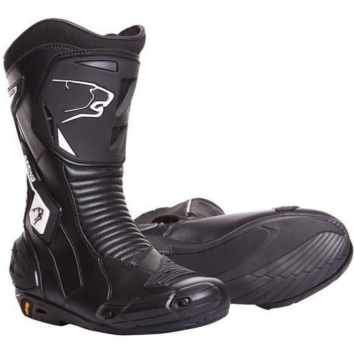 41 Bottes Moto Piste Route Cuir Noir Protection Normes CE JLP RACING