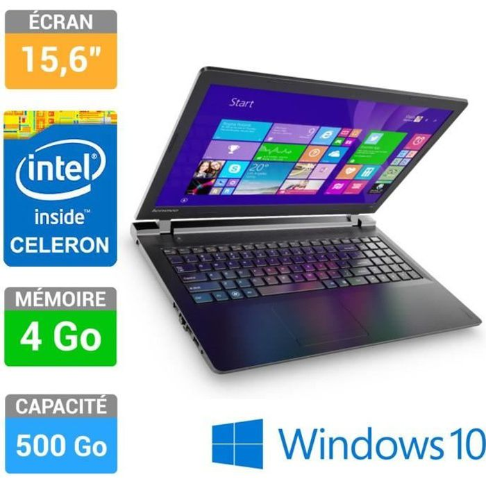 lenovo pc portable ideapad 100 15 80mj00ccfr prix pas cher soldes cdiscount. Black Bedroom Furniture Sets. Home Design Ideas