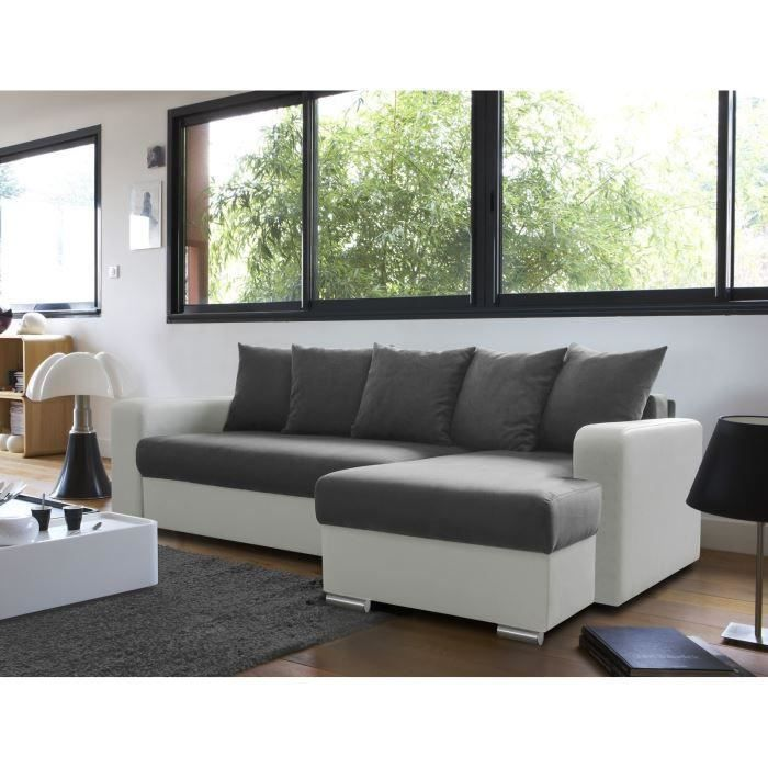 andy canap d 39 angle convertible en simili et tissu achat vente canap sofa divan. Black Bedroom Furniture Sets. Home Design Ideas