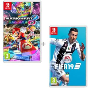 JEU NINTENDO SWITCH Pack 2 jeux Switch : Mario Kart 8 Deluxe + FIFA 19