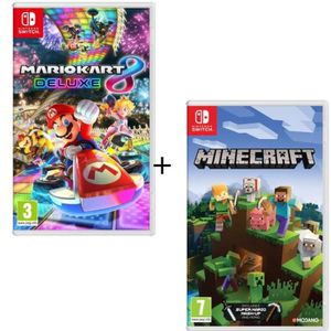 JEU NINTENDO SWITCH Pack 2 jeux Switch : Mario Kart 8 Deluxe + Minecra