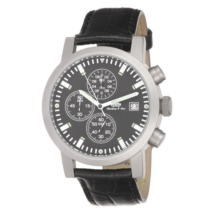 lindberg sons montre chronographe homme noir sport acier inoxydable achat vente montre bracelet. Black Bedroom Furniture Sets. Home Design Ideas