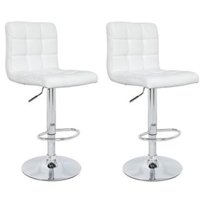 TABOURET DE BAR CRUNCH Lot de 2 tabourets de bar - Simili blanc -