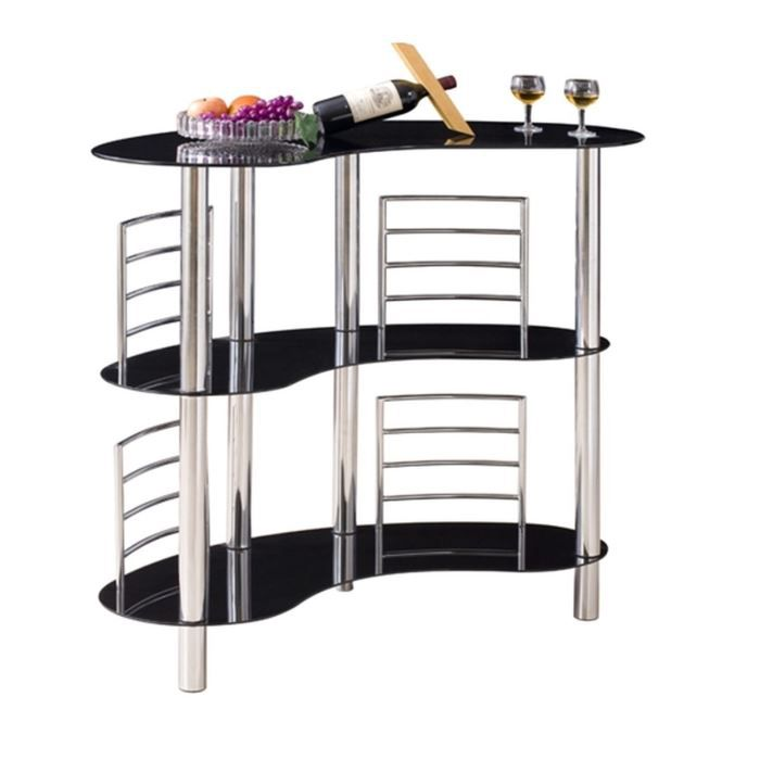 loly bar l120 cm tag res en verre noir achat vente meuble bar loly bar noir l120 cm verre. Black Bedroom Furniture Sets. Home Design Ideas