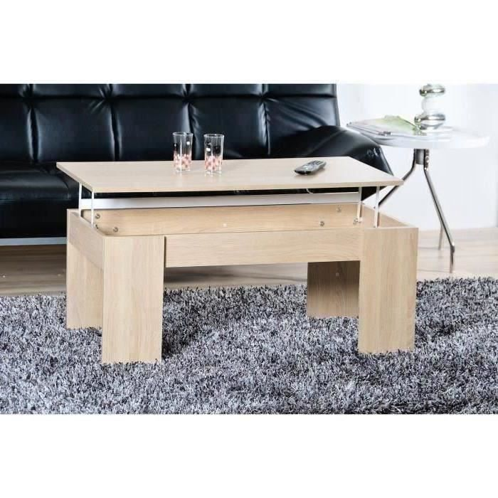 Open table basse plateau relevable coloris ch ne achat - Table basse a plateau relevable ...