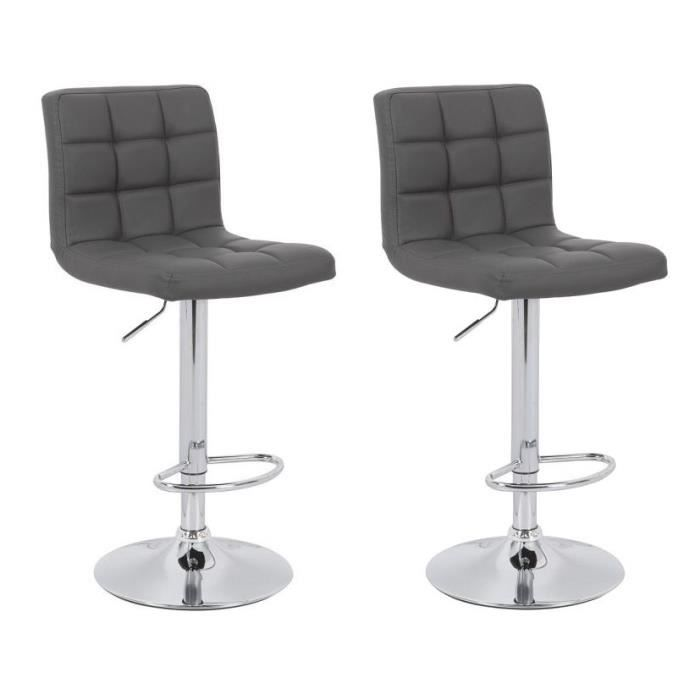 crunch lot de 2 tabourets de bar en simili gris achat vente tabouret de bar structure en