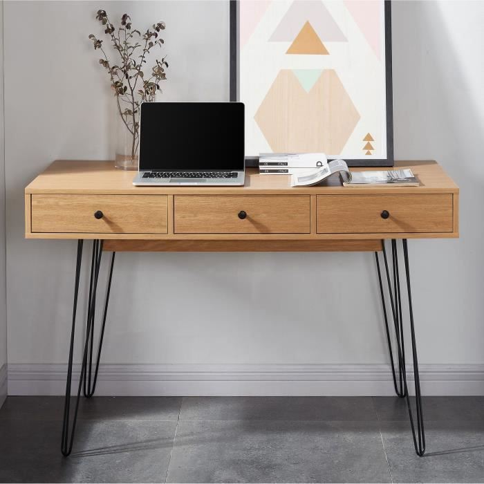 louisette bureau vintage d cor ch ne clair pieds en m tal l 120 cm achat vente bureau. Black Bedroom Furniture Sets. Home Design Ideas
