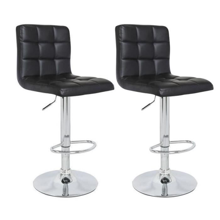 TABOURET DE BAR CRUNCH Lot de 2 tabourets de bar - Simili noir - S