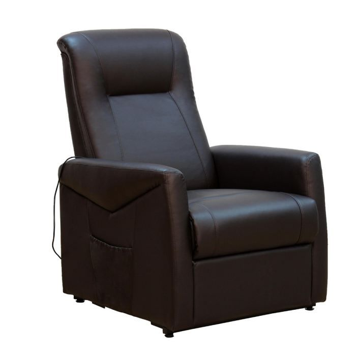 raise fauteuil relax releveur chocolat chocolat achat vente fauteuil simili bois m tal. Black Bedroom Furniture Sets. Home Design Ideas