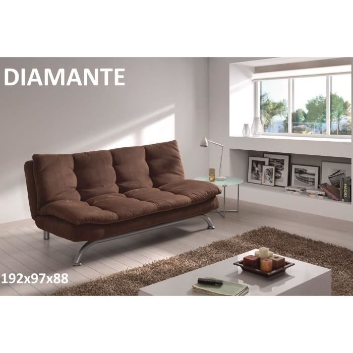 Diamante banquette clic clac tissu 2 places 192x97x88 cm for Canape clic clac 2 places