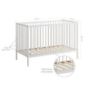 Cocoarm Lit pour enfant /à barreaux Lit b/éb/é Chambre denfant Lit en bois multifonction Cr/èche r/églable avec roulettes