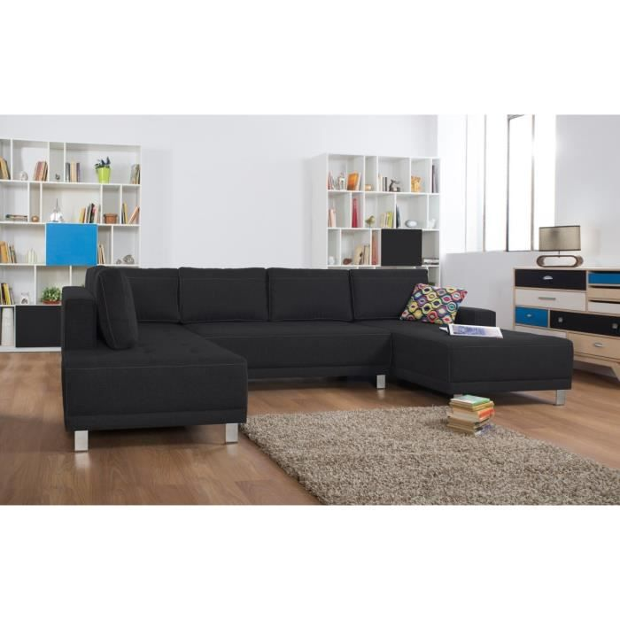 duval canap panoramique convertible 5 places 317x194x78 cm rev tement en tissu 100. Black Bedroom Furniture Sets. Home Design Ideas