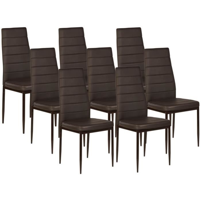 vogue lot de 8 chaises de salle manger chocolat achat vente chaise cdiscount. Black Bedroom Furniture Sets. Home Design Ideas
