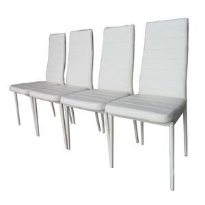 lot de 4 chaises vogue blanches achat vente chaise m tal pvc 0 9 mm cdiscount. Black Bedroom Furniture Sets. Home Design Ideas