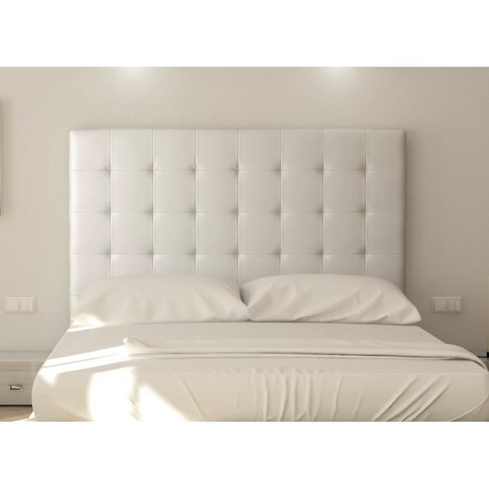 sogno t te de lit capitonn e 180 cm simili blanc achat. Black Bedroom Furniture Sets. Home Design Ideas