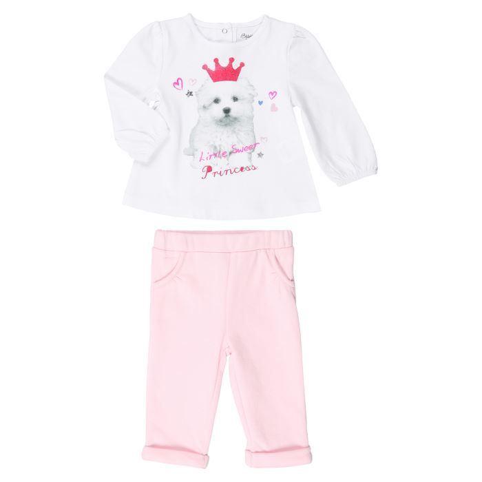 bebe reve ensemble t shirt pantalon b b fille blanc et rose achat vente ensemble de. Black Bedroom Furniture Sets. Home Design Ideas