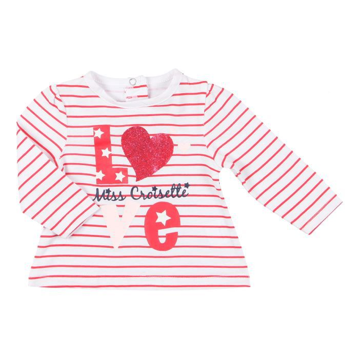 b b r ve t shirt b b fille blanc et rouge achat vente t shirt cdiscount. Black Bedroom Furniture Sets. Home Design Ideas