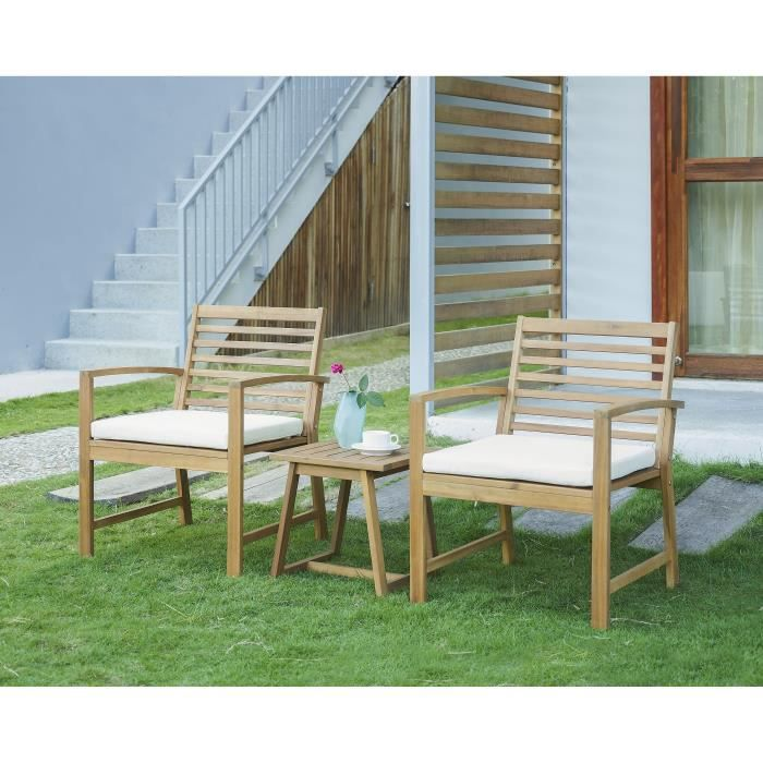 Salon de jardin en bois d\'acacia FSC 2 personnes LOMA Bois et coussins écru
