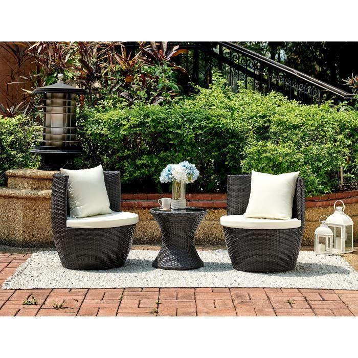 Ensemble table et chaise de jardin Salon de jardin en résine tressée 2 personnes HILP