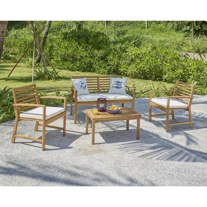 Salon de jardin en bois d\'acacia FSC 4 personnes LOMA Bois ...