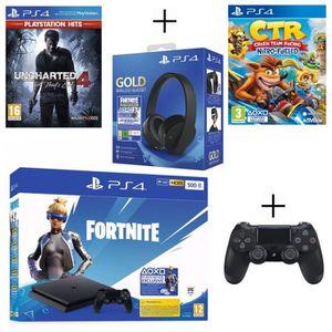 CONSOLE PS4 PS4 500 Go Noire + Casque Sans Fil Gold + Manette