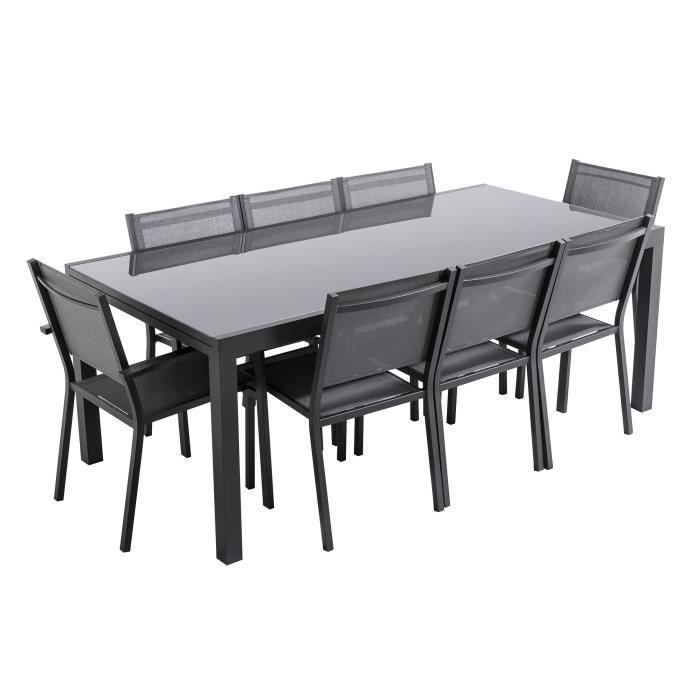 loungitude ensemble table de jardin extensible avec 2. Black Bedroom Furniture Sets. Home Design Ideas