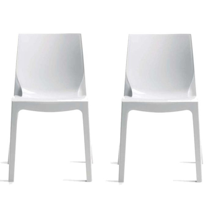 lot de 2 chaises ice blanc achat vente chaise polycarbonate cdiscount. Black Bedroom Furniture Sets. Home Design Ideas