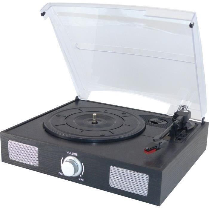 Lecteur de Vinyle Bluetooth 33//45//78 TR//Min Tourne-Disque avec Haut-parleurs st/ér/éo int/égr/és /équipement denregistrement avec Plateau tournant /à 3 Vitesses en Corne de qualit/é