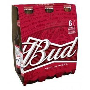 BIÈRE Bud - Bière Blonde -  Pack de 6 x 25 cl