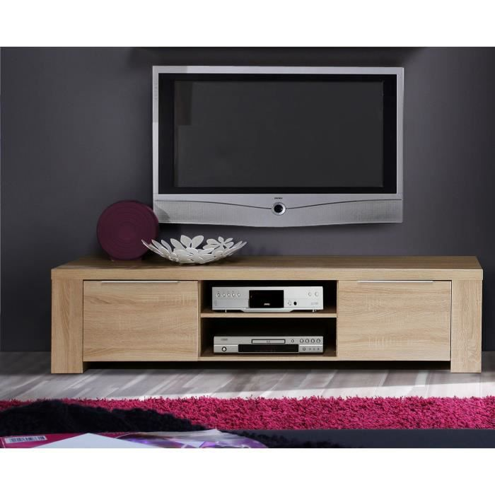 calpe meuble tv 169 x 42 cm ch ne sonoma clair achat. Black Bedroom Furniture Sets. Home Design Ideas