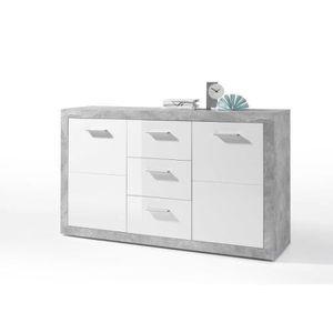 BUFFET - BAHUT  STONE Buffet contemporain décor béton et blanc bri