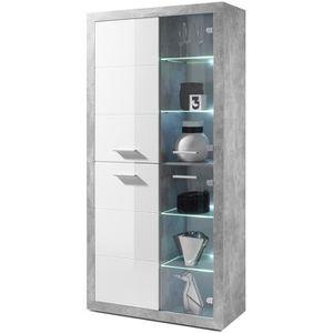 VITRINE - ARGENTIER STONE Vitrine LED style contemporain décor béton e
