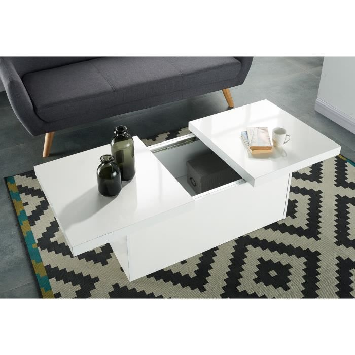 Wonderland table basse extensible 110 142x60 cm blanc for Table extensible avec rangement