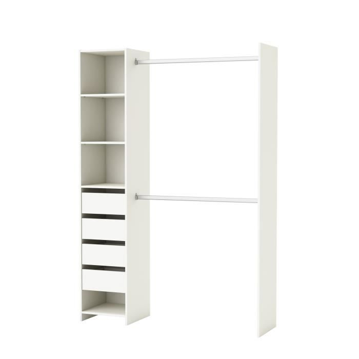 skirt kit placard contemporain blanc l 141 cm achat. Black Bedroom Furniture Sets. Home Design Ideas
