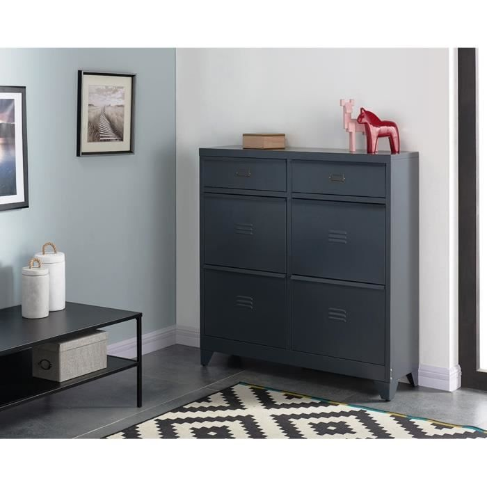camden meuble chaussures industriel m tal laqu gris. Black Bedroom Furniture Sets. Home Design Ideas