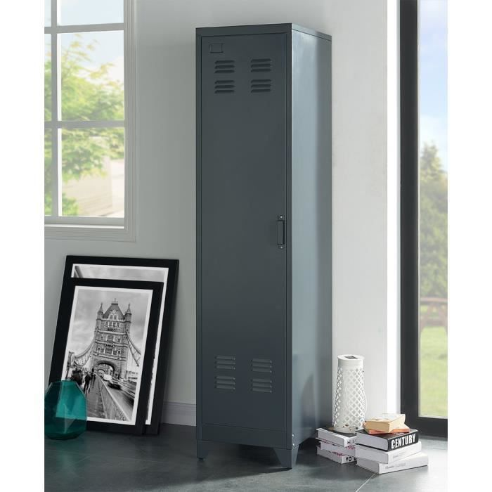 camden armoire vestiaire industriel gris fonc l 43 cm achat vente meuble d 39 entr e camden. Black Bedroom Furniture Sets. Home Design Ideas