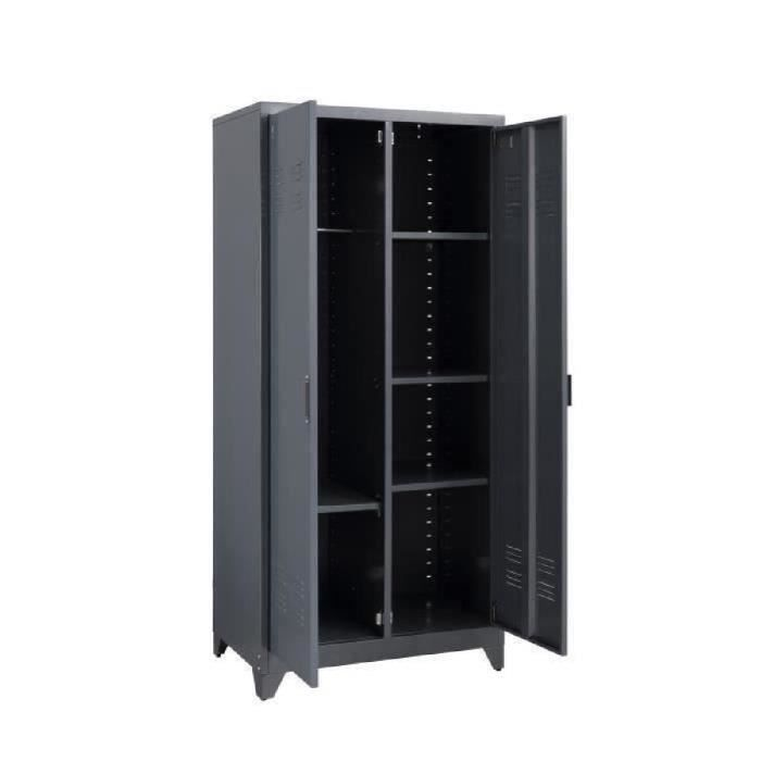 camden armoire vestiaire style industriel en m tal laqu gris fonc l 85 cm achat vente. Black Bedroom Furniture Sets. Home Design Ideas