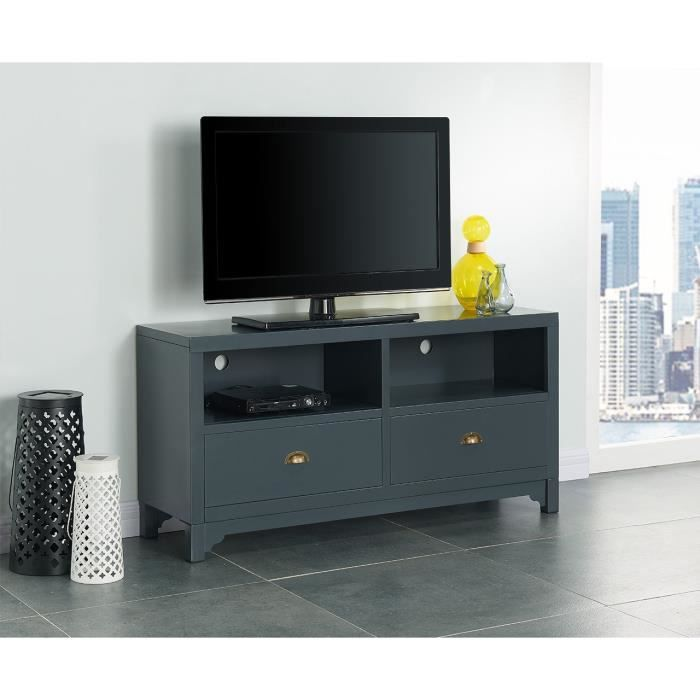 camden meuble tv en m tal 120 cm gris fonc achat vente meuble tv camden meuble tv cdiscount. Black Bedroom Furniture Sets. Home Design Ideas