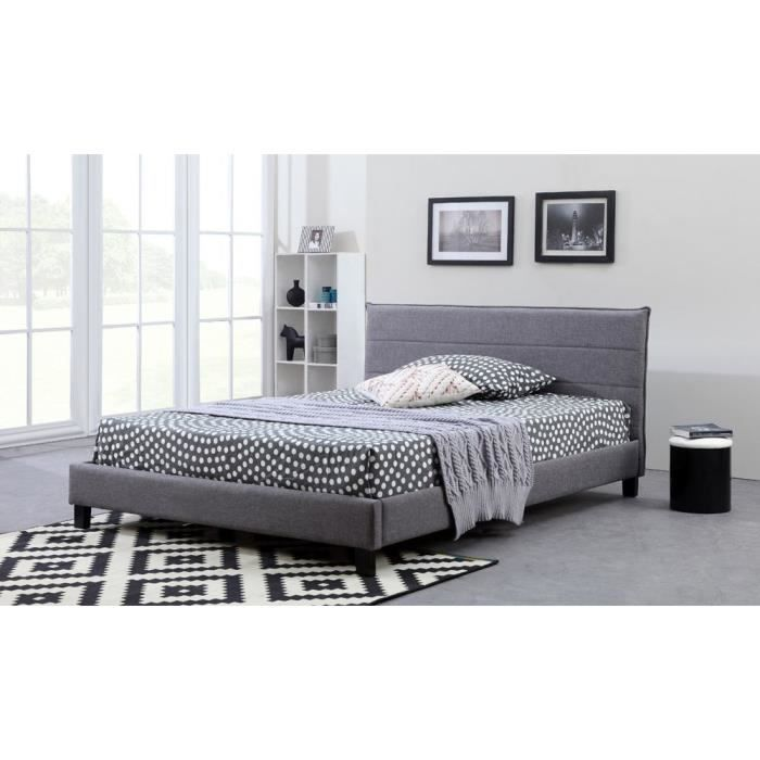 cesar lit adulte sommier 140x190 gris fonc achat. Black Bedroom Furniture Sets. Home Design Ideas