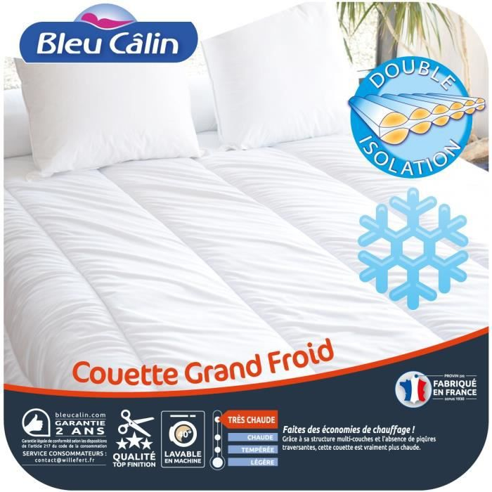 bleu calin couette grand froid 240x260 cm blanc achat vente couette cdiscount. Black Bedroom Furniture Sets. Home Design Ideas