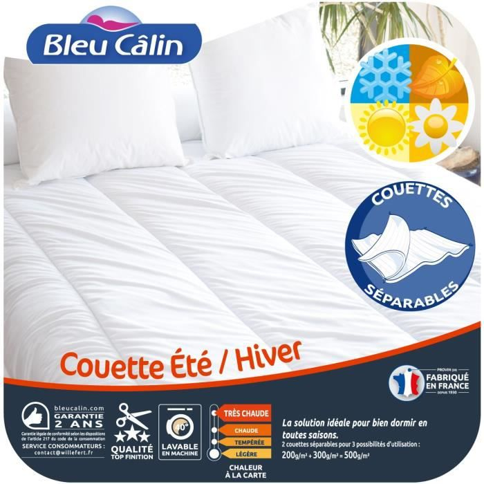 bleu calin couette t hiver 140x200 cm blanc achat vente couette cdiscount. Black Bedroom Furniture Sets. Home Design Ideas