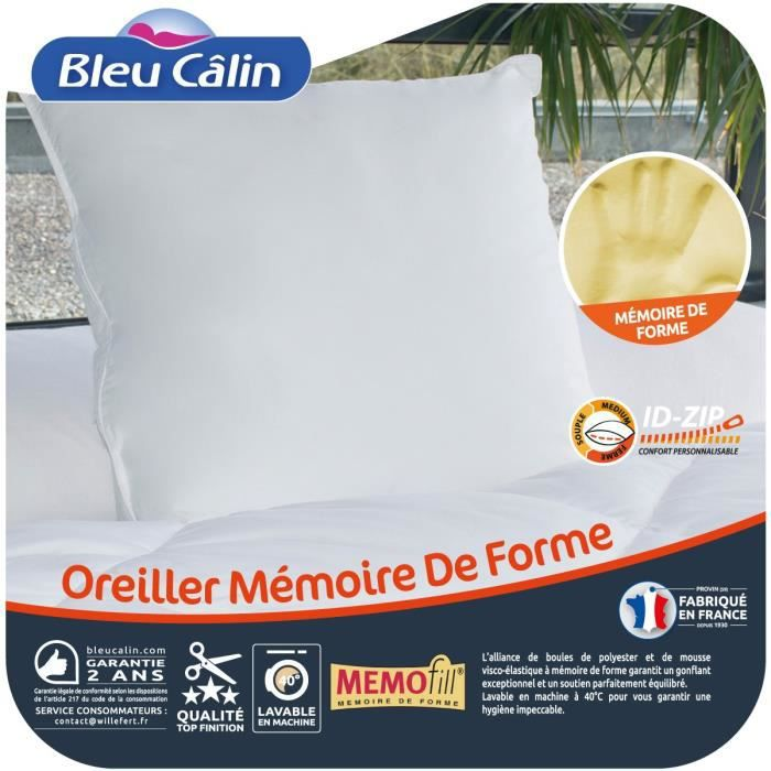 bleu calin oreiller m moire de forme m mofill 60x60 cm. Black Bedroom Furniture Sets. Home Design Ideas