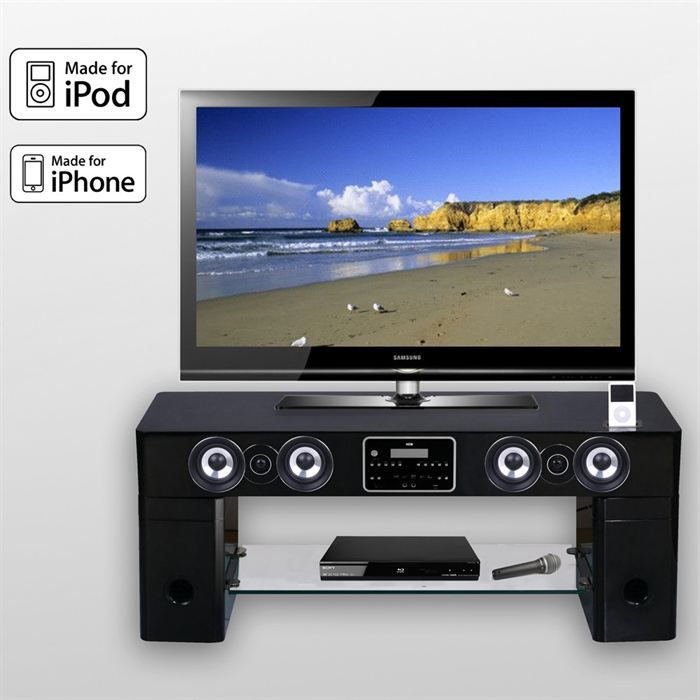 Meuble tv barre de son station d 39 accueil ipod station - Meuble tv barre de son integree ...