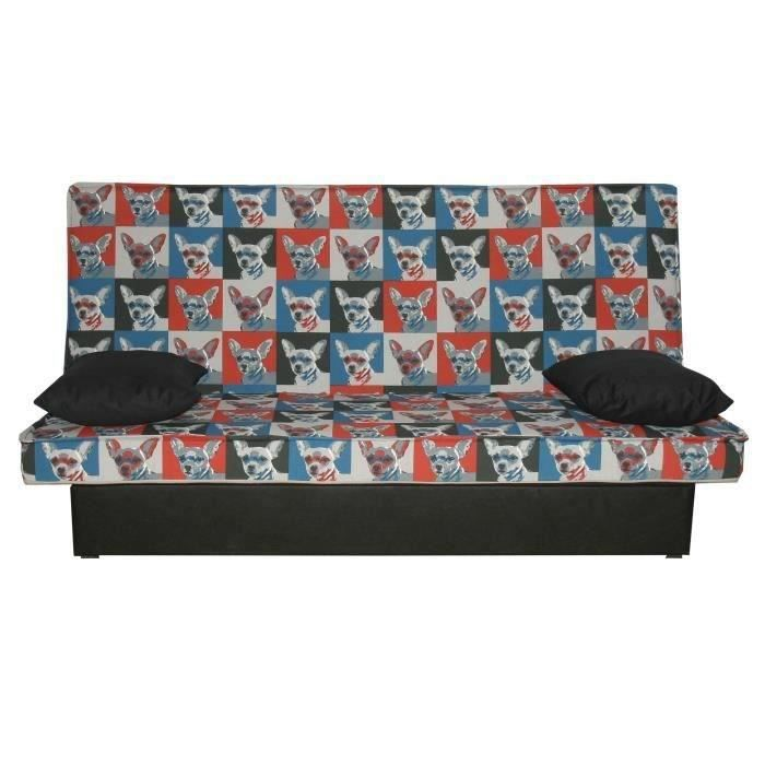 lulo banquette clic clac 2 places 190x96x100 cm tissu 100 polyester imprim dog achat. Black Bedroom Furniture Sets. Home Design Ideas