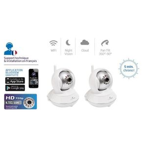 CAMÉRA IP BLUESTORK PACK X2 CAMERAS IP HD ROTATIVE WIFI VISI