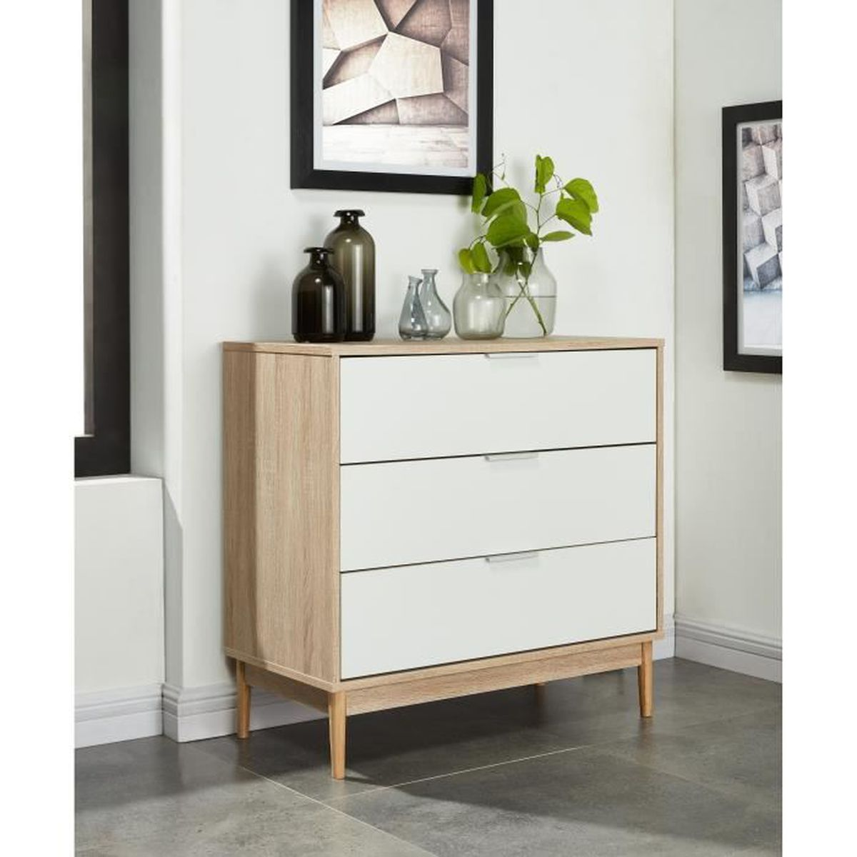 charlotte commode 80 cm blanc et d cor ch ne achat. Black Bedroom Furniture Sets. Home Design Ideas