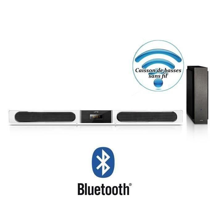 destockage ltc soundbar5 barre de son 2 1ch bluetooth caisson de basse sans fil 120w blanc. Black Bedroom Furniture Sets. Home Design Ideas